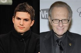 Ashton Kutcher reached one million Twitter followers before CNN, despite Larry King's prediction otherwise.