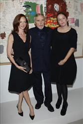 Dennis Hopper with his wife Victoria Hopper and his daughter Marin Hopper (R) are shown at la Cinematheque Francaise on October 15, 2008 in Paris, France.