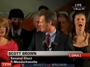 Scott Brown's daughter Ayla reacts after he announces that she's available in his acceptance speech.