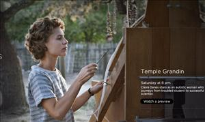 Claire Danes as Temple Grandin is shown in an HBO.com screen shot.