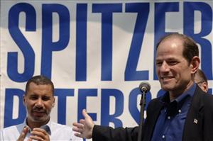 Then-candidates David Paterson and Eliot Spitzer campaign in Cheektowaga, NY, May 31, 2006. Paterson, the lieutenant governor, succeeded Spitzer as governor March 17, 2008.