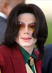 Michael Jackson arrives at the Santa Barbara County Courthouse in Santa Maria, Calif., in 2005.
