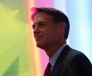 Sen. Evan Bayh, D-Ind., looks over the stage during a walk through at the Democratic National Convention in Denver, Wednesday, Aug. 27, 2008.