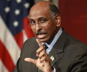 Chairman of the Republican National Committee Michael Steele addresses an audience at the John F. Kennedy School of Government on the campus of Harvard University, Feb. 3, 2010, in Cambridge, Mass.