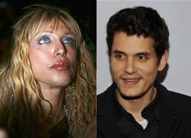Courtney Love and John Mayer are shown in a combination photo.