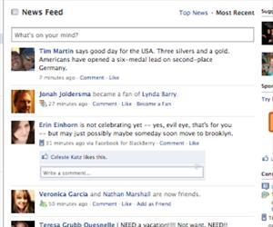 A Facebook news feed.