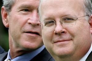 George W. Bush and Karl Rove in a 2005 file photo.
