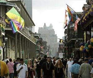 Crowds begin to fill Bourbon Street in the French Quarter of New Orleans in this, Feb. 4, 2008 file photo.