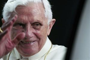 Pope Benedict XVI leaves a youth gathering at the Vatican today.