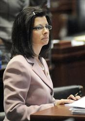 Rep. Linda Fischer, D-Bonne Terre, listens to floor debate Wednesday, March 31, 2010, in Jefferson City, Mo. F