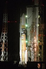 An H2-A rocket is prepared at space center in Tanegashima, southern Japan Thursday night, Sept. 13, 2007. Japan's space agency is to launch its long-delayed lunar orbiter on Friday. (AP Photo/Kyodo News)