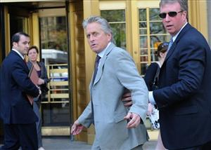 Michael Douglas arrives at Manhattan federal court for the sentencing of his son.