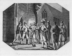An illustration of Guy Fawkes being arrested when his plot failed in 1605.