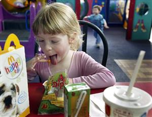 Fast food companies spent $360 million in 2006 on the toys included with kids' meals.