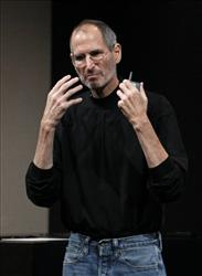 Apple Inc. Chairman and CEO Steve Jobs gestures on stage during an event at Apple Inc. in Cupertino, Calif., Thursday, April 8, 2010.