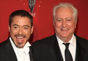 Robert Downey Jr. and father Robert Downey Sr. arrive at TIME's 100 Most Influential People Gala at Frederick P. Rose Hall on May 08, 2008 in New York City.