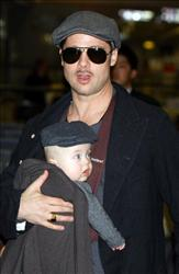 Actor Brad Pitt arrives at Narita International Airport with son Knox Jolie-Pitt on January 27, 2009 in Narita, Chiba, Japan.