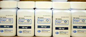 HOLLYWOOD, FL - JUNE 16:  Bottles of Viagra sit on a shelf at the Post Haste Pharmacy And Surgical Store on June 16, 2003 in Hollywood, Florida.