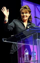 Sarah Palin speaks at RECon 2010, the International Council of Shopping Centers' annual convention, at the Las Vegas Convention Center May 23, 2010.
