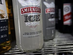 Bottles of Smirnoff Ice are seen on a cooler shelf at a store in Albany, N.Y., Monday, Jan. 28, 2008.