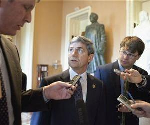 Rep. Joseph Sestak, D-Pa. talks to reporters on Capitol Hill in Washington, Tuesday, May 25, 2010, after the Democratic Caucus luncheon.