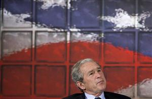 George W. Bush pauses before answering a question during a gathering of the American Enterprise Institute.