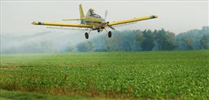 An Oklahoma farmer sprays soybean fields using a crop duster airplanes, Thursday, Aug. 16, 2007.