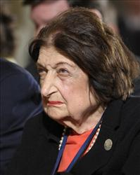 In this May 27, 2010 file photo, Helen Thomas listens to President Barack Obama during a news conference in the East Room of the White House.