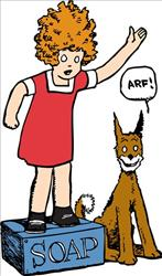 This undated image provided May 26, 2010, by Tribune Media Services, shows Annie and her dog, Sandy, from an early stage of the Annie comic strip. It ran for 85 years before today's final strip.