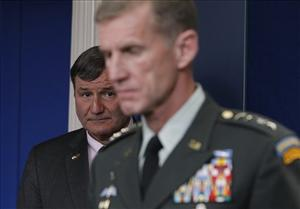 Gen. Stanley McChrystal and US Ambassador to Afghanistan Karl W. Eikenberry brief reporters ahead of Afghan President Hamid Karzai's White House visit last month.