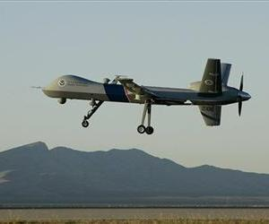 In an Oct. 25, 2007 file photo a Predator drone unmanned aerial vehicle takes off on a US Customs Border Patrol mission from Fort Huachuca, Ariz.