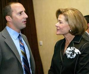Arrested Development stars Tony Hale (Buster Bluth) and Jessica Walter (Lucille Bluth) at a Television Critics Association reception at the Beverly Hilton Hotel in Beverly Hills, July 23, 2005.