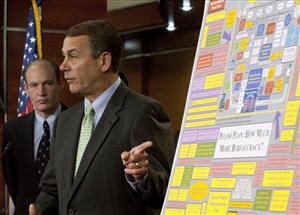 House Minority Leader John Boehner, R-Ohio, points to a poster on health care legislation as Rep. Thaddeus McCotter, R-Mich., listens in Washington, Saturday, Nov. 7, 2009.