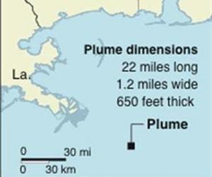 Map locates large discovered oil plume