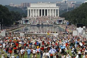 The crowd attending the Restoring Honor rally, organized by Glenn Beck, is seen from the base of the Washington Monument in Washington, on Saturday, Aug. 28, 2010.
