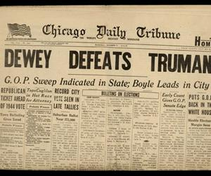 An original copy of the famous 1948 Dewey Defeats Truman edition of the Chicago Tribune.