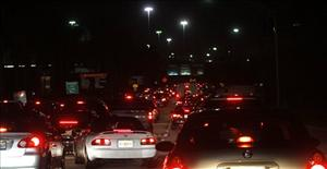 Cars are unable to enter Miami International Airport in Miami last night.