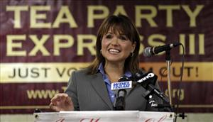 Christine O'Donnell, a candidate for the US Senate, addresses supporters during a Tea Party Express news conference in support of her election bid, Tuesday, Sept. 7, 2010, in Wilmington, Del.