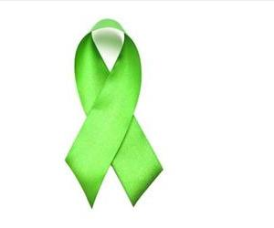 A green leukemia ribbon is seen in this stock photo.