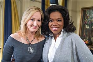 In this photo taken Aug. 30, 2010, and provided by Harpo Productions, Oprah Winfrey is seen with Harry Potter author J. K. Rowling.