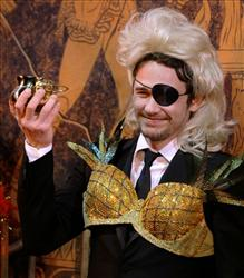 Actor James Franco holds up his pudding pot award as he is honored as Harvard University's Hasty Pudding Theatricals Man of the Year in Cambridge, Mass., Friday Feb. 13, 2009.