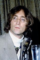 John Lennon talks at a New York press conference in 1968.