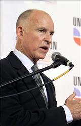 Jerry Brown answers questions concerning his debate with his GOP opponent Meg Whitman at California State University, Fresno, in Fresno, Calif., Saturday, Oct. 2, 2010.