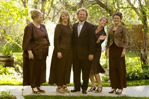 In this publicity image released by TLC, the Browns, from left, Janelle, Christine, Kody, Meri, and Robyn from the TLC series, Sister Wives, are shown.