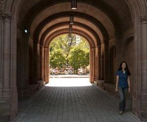 A student at Yale University in New Haven, Conn., walks on campus Monday, Sept. 14, 2009.