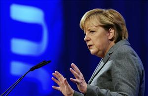 In this Oct. 16, 2010 file picture German chancellor speaks at a meeting of the youth organization of her Christian Democratic Party (JU) in Potsdam, Eastern Germany.