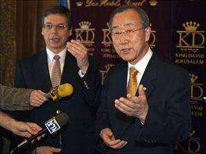 UN Secretary General Ban Ki-moon, right, meets with Israeli Deputy Foreign Minister Danny Ayalon in Jerusalem, Sunday, March 21, 2010. U.N. chief Ban Ki-moon, who was touring the Gaza Strip Sunday wants a nearly three-year blockade of Gaza lifted and said Israel's recent opening of Gaza's borders to allow...