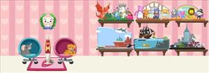 A user's virtual home in Pet Society, a Facebook game.