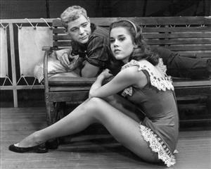 October 1960: Jane Fonda sits beside James MacArthur at the Music Box Theatre, New York City.