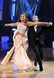 In this publicity image released by ABC, Bristol Palin, left, and her partner Mark Ballas perform on the celebrity dance competition series, Dancing with the Stars, Nov. 1, 2010 in Los Angeles.